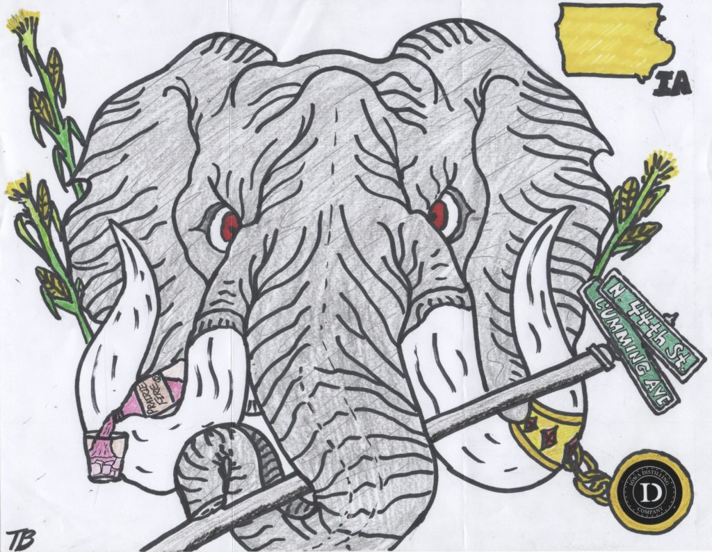 Elephant drawn by Iowa Distilling Company