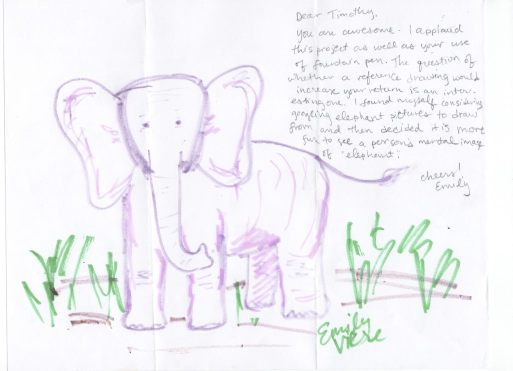 Elephant drawn by Emily Vikre of Vikre Distillery