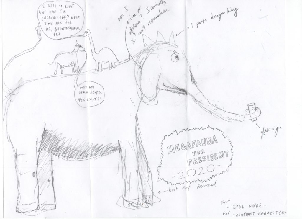 Elephant drawn by Joel Vikre of Vikre Distillery