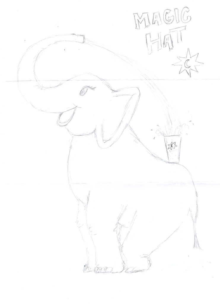 Scan of an elephant drawing by Magic Hat